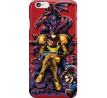 Metroid - The Huntress Throne (with Mario) iPhone Case/Skin