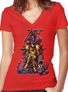 Metroid - The Huntress Throne (with Mario) Women's Fitted V-Neck T-Shirt