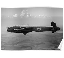 Dambusters Lancaster AJ-G carrying Upkeep black and white version Poster