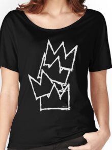 Stacked Crowns White Lines Women's Relaxed Fit T-Shirt