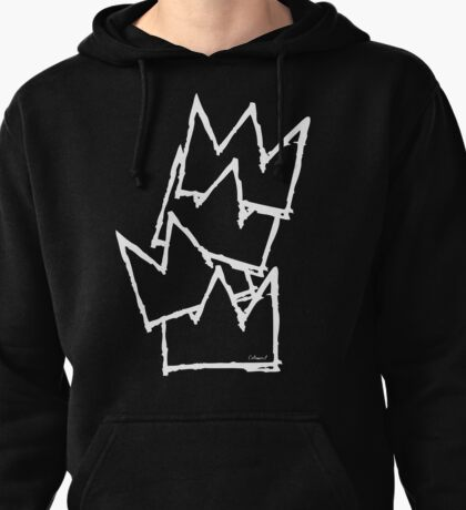 Stacked Crowns White Lines Pullover Hoodie