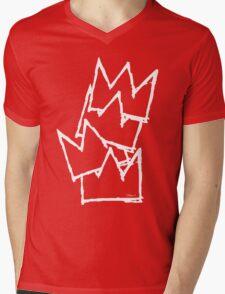 Stacked Crowns White Lines Mens V-Neck T-Shirt