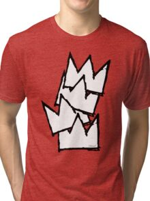 Stacked Crowns White  Tri-blend T-Shirt