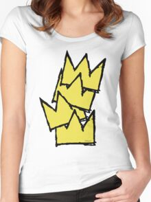 Stacked Crowns Yellow Women's Fitted Scoop T-Shirt