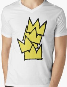 Stacked Crowns Yellow Mens V-Neck T-Shirt
