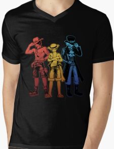 One Piece Brothers - red/yellow/blue Mens V-Neck T-Shirt