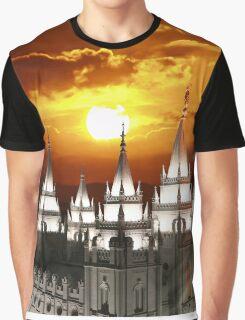 Salt Lake Temple Sunset Spires 20x24 Graphic T-Shirt