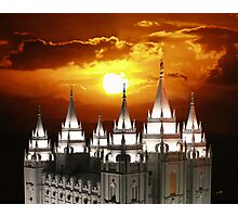 Salt Lake Temple Sunset Spires 20x24 Photographic Print