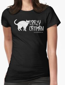 Crazy Cat Man 1 White Text Womens Fitted T-Shirt