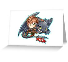 Httyd 2 - Chibi Hiccup and Toothless Greeting Card