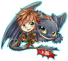 Httyd 2 - Chibi Hiccup and Toothless Photographic Print