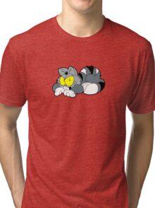 Mad Cat Hates Mondays! Tri-blend T-Shirt