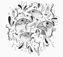 Fine Finches (linework) by Nichole Lillian Ryan