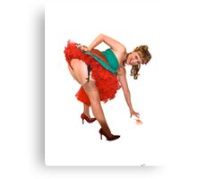 Pin up girl with red knickers Canvas Print