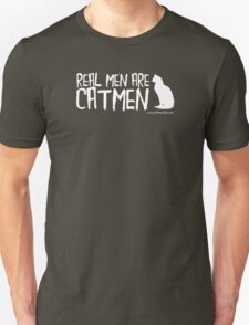 Real Men Are Catmen White Text T-Shirt