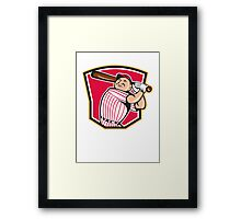 Baseball Player Batting Shield Cartoon Framed Print