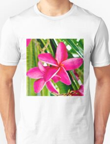 Tropical Pink Plumeria Flower Blooms T-Shirt