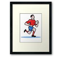 Rugby Player Running Ball Cartoon Framed Print
