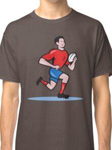 Rugby Player Running Ball Cartoon Classic T-Shirt