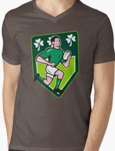 Irish Rugby Player Running Ball Shield Cartoon Mens V-Neck T-Shirt