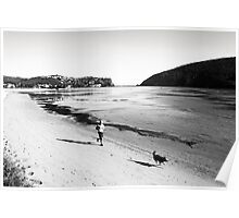 View of Knysna Heads with jogger in foreground Poster