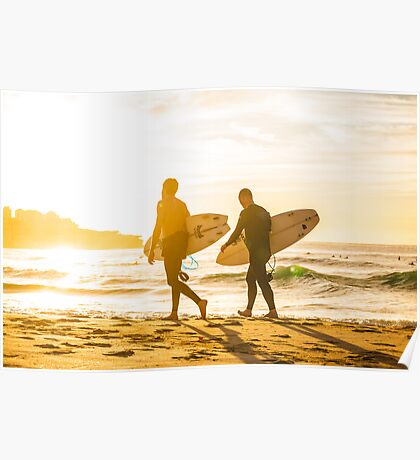 Morning Surfers Poster