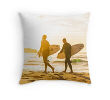 Morning Surfers Throw Pillow