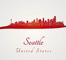 Seattle skyline in red by Pablo Romero