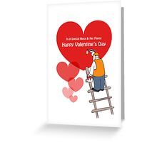 Valentine's Day Niece & Fiance Cards, Red Hearts, Painter Cartoon Greeting Card