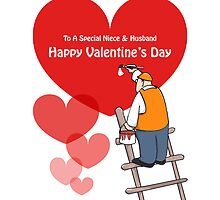 Valentine's Day Niece & Husband Cards, Red Hearts, Painter Cartoon by Sagar Shirguppi