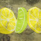 Pop Art Lemon Lime with Canvas Texture and Stains - Prints by Denis Marsili