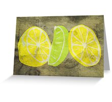 Pop Art Lemon Lime with Canvas Texture and Stains - Prints Greeting Card
