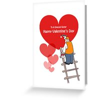 Valentine's Day Sister Cards, Red Hearts, Painter Cartoon Greeting Card