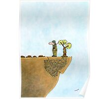 Go Green, Save The Trees Cartoon Poster