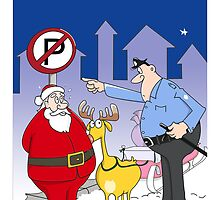 Santa And Police Officer Funny Cartoon  by Sagar Shirguppi