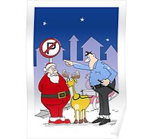 Santa And Police Officer Funny Cartoon  Poster
