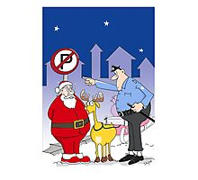 Santa And Police Officer Funny Cartoon  Photographic Print