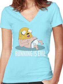 Running Is Evil Women's Fitted V-Neck T-Shirt
