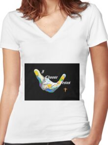 I Choose Jesus Women's Fitted V-Neck T-Shirt