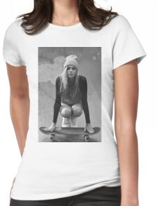 Skateboard Girl Womens Fitted T-Shirt