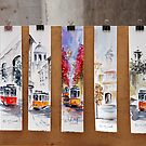 Cards of the yellow tram of Lisbon - Portugal by Arie Koene