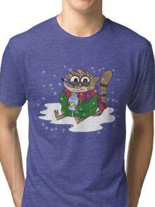Regular Show - Rigby Sitting On Snow Tri-blend T-Shirt