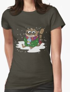 Regular Show - Rigby Sitting On Snow Womens Fitted T-Shirt