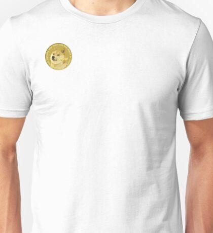 Dogecoin! Small logo on corner of shirt, Much Wow. Unisex T-Shirt