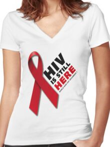 HIV Ribbon  Women's Fitted V-Neck T-Shirt