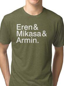 Eren & Mikasa & Armin. Tri-blend T-Shirt
