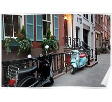 Vespas - Black & Sea Foam Poster