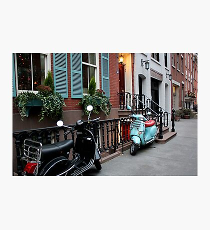 Vespas - Black & Sea Foam Photographic Print