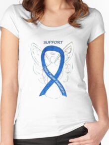 Colon Cancer Ribbon  Women's Fitted Scoop T-Shirt
