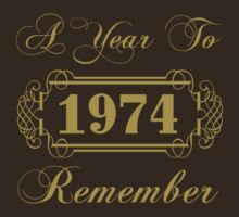 1974 'A Year To Remember' T-Shirt by thepixelgarden